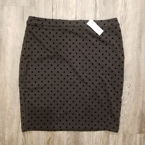 LOFT | New Gray & Black Polka Dot Pencil Skirt